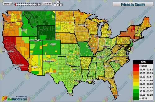 ElectroVelocity Gas Prices County By County In The USA - Mid east usa map